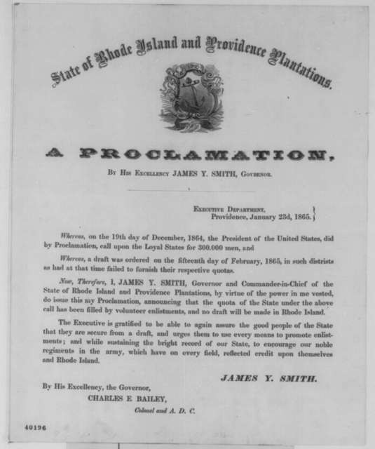 James Y. Smith, Monday, January 23, 1865  (Printed proclamation)