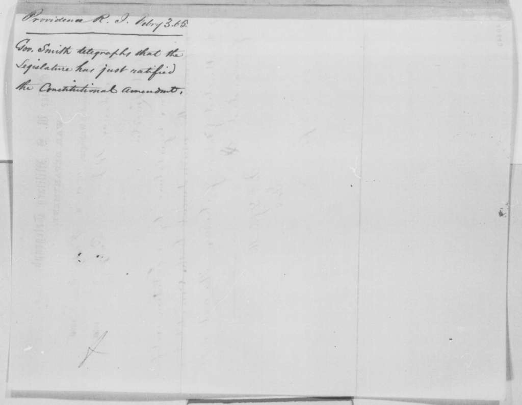 James Y. Smith to Abraham Lincoln, Friday, February 03, 1865  (Telegram reporting ratification of 13th Amendment)