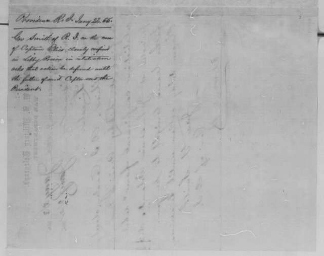 James Y. Smith to Abraham Lincoln, Sunday, January 22, 1865  (Telegram concerning case of Capt. George N. Bliss)