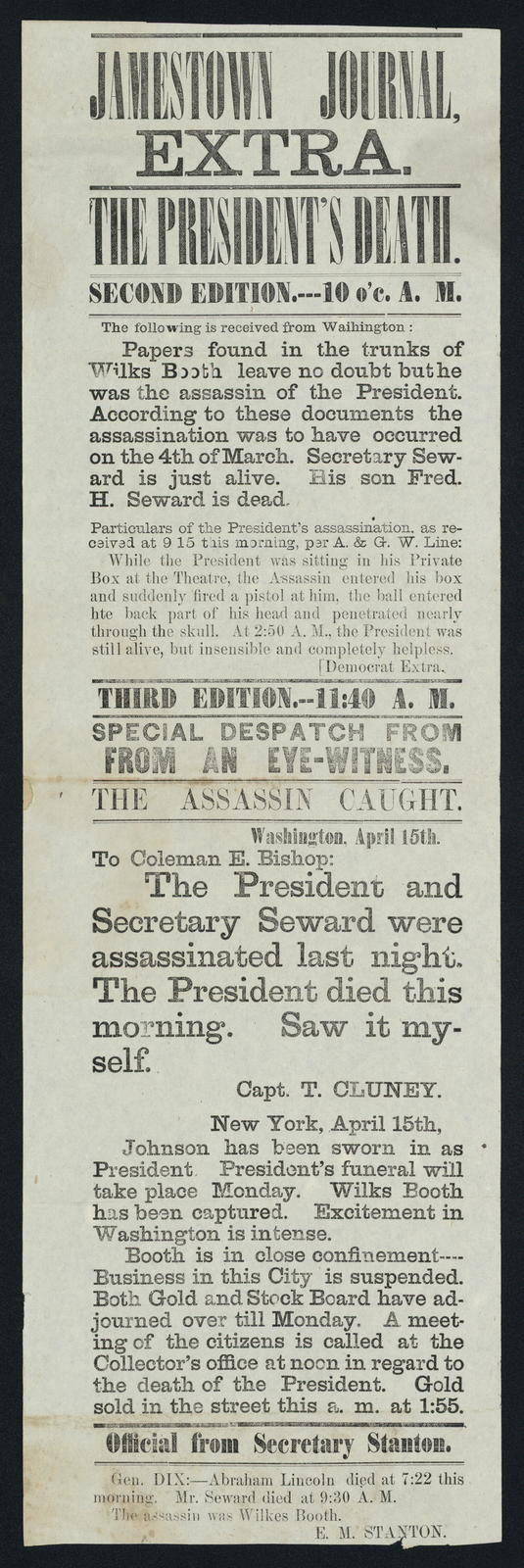 Jamestown Journal Extra. The President's death. Second edition. 10 o'clock A. M. Third Edition. 11:40 A. M.