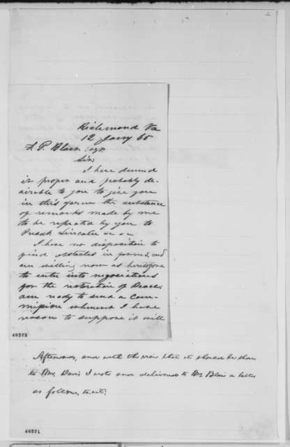 Jefferson Davis to Francis P. Blair Sr., Thursday, January 12, 1865  (Peace Negotiations)
