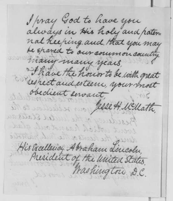 Jesse H. McMath to Abraham Lincoln, Sunday, January 01, 1865  (Congratulations)