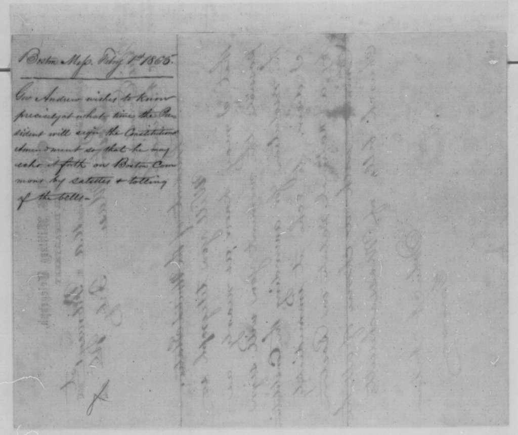 John A. Andrew to Abraham Lincoln, Wednesday, February 01, 1865  (Telegram concerning 13th Amendment)
