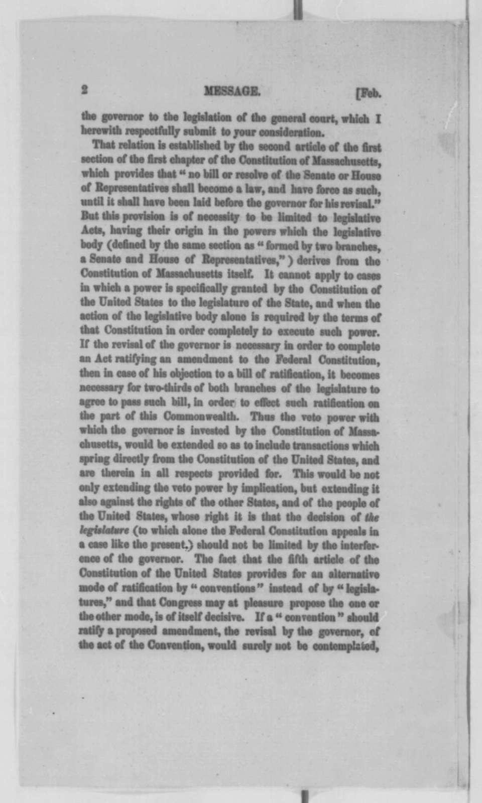 John A. Andrew to Massachusetts Legislature, Wednesday, February 08, 1865  (Printed message)