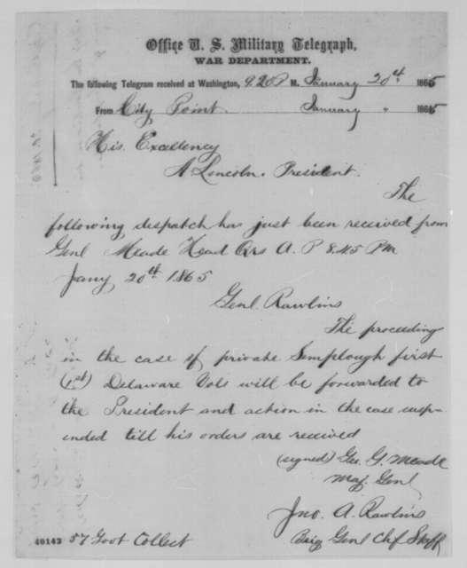 John A. Rawlins to Abraham Lincoln, Friday, January 20, 1865  (Telegram concerning case of Thomas Lamplaugh)