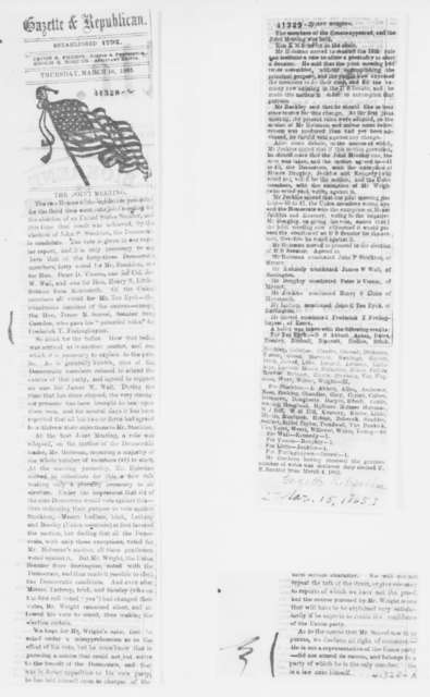 John C. Ten Eyck to Abraham Lincoln, Thursday, March 16, 1865  (Sends clippings)