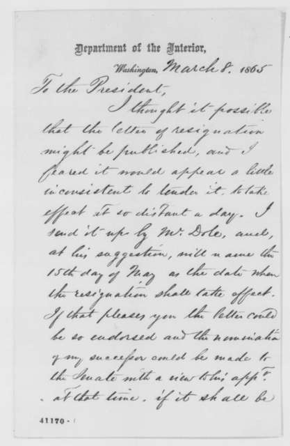 John P. Usher to Abraham Lincoln, Wednesday, March 08, 1865  (Resignation)