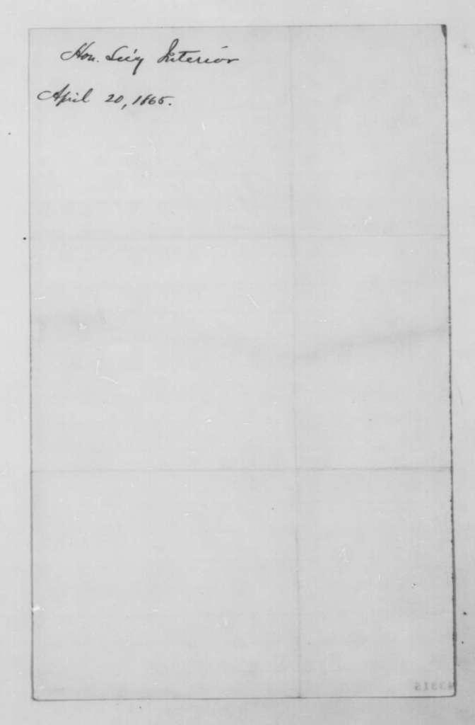 John P. Usher to John G. Nicolay, Thursday, April 20, 1865  (Commission)