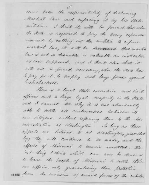 John Pope to Abraham Lincoln, Wednesday, March 08, 1865  (Military situation in Missouri)