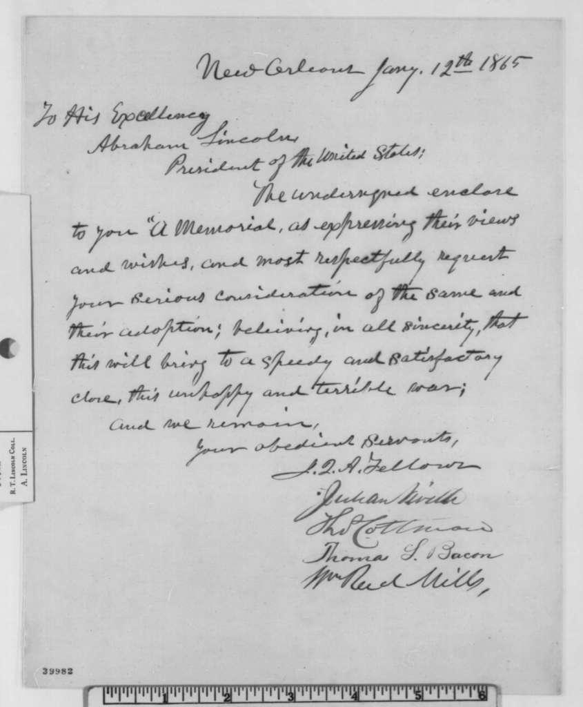 John Q. A. Fellows,  et al to Abraham Lincoln, Thursday, January 12, 1865  (Cover letter)