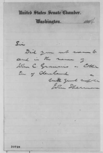 John Sherman to Abraham Lincoln, March 1865  (Appointment of collector at Cleveland)