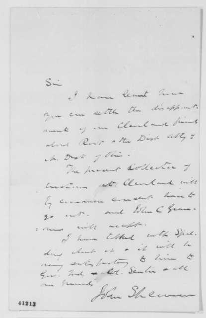 John Sherman to Abraham Lincoln, Saturday, March 11, 1865  (Ohio patronage)