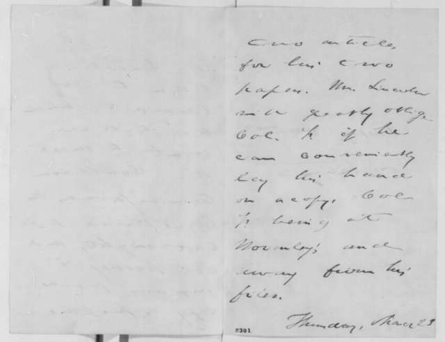 John W. Forney to Abraham Lincoln, Thursday, February 23, 1865  (Requests copy of letter)