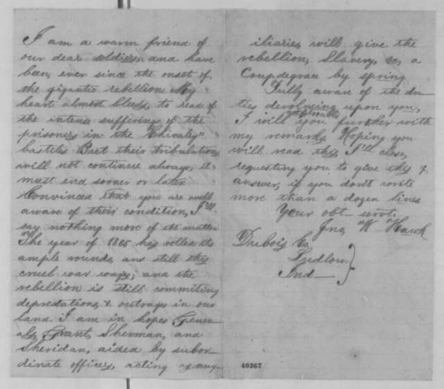 John W. Hawk to Abraham Lincoln, [January 1865]  (Support)