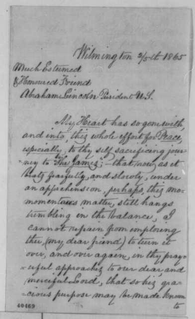 John W. Tatum to Abraham Lincoln, Sunday, February 05, 1865  (Support)