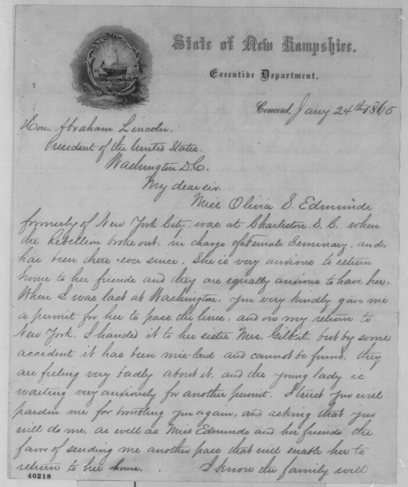 Joseph A. Gilmore to Abraham Lincoln, Tuesday, January 24, 1865  (Pass for Olivia Edmunds)