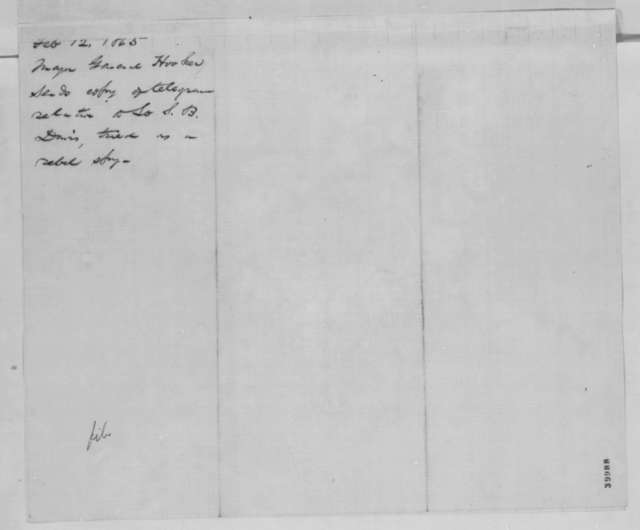 Joseph Hooker to Abraham Lincoln, Sunday, February 12, 1865  (Case of Samuel B. Davis)
