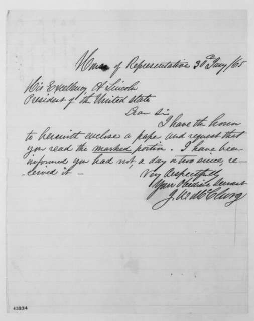 Joseph W. McClurg to Abraham Lincoln, Monday, January 30, 1865  (Cover letter)