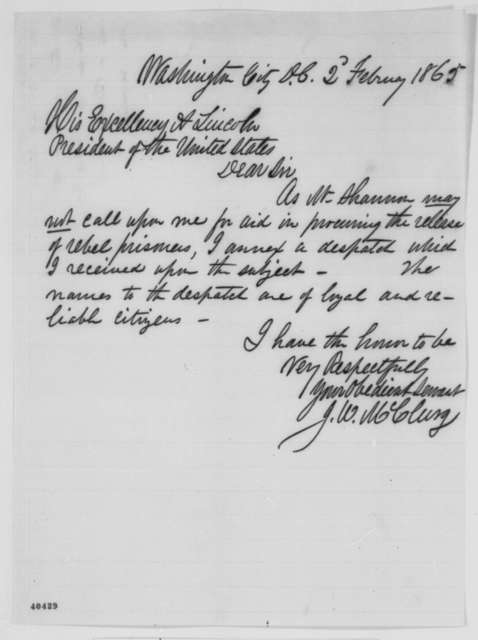 Joseph W. McClurg to Abraham Lincoln, Thursday, February 02, 1865  (Release of rebel prisoners)
