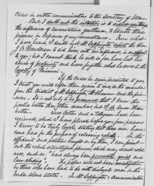 Joseph W. McClurg to Abraham Lincoln, Wednesday, February 15, 1865  (Release of Missouri prisoners)