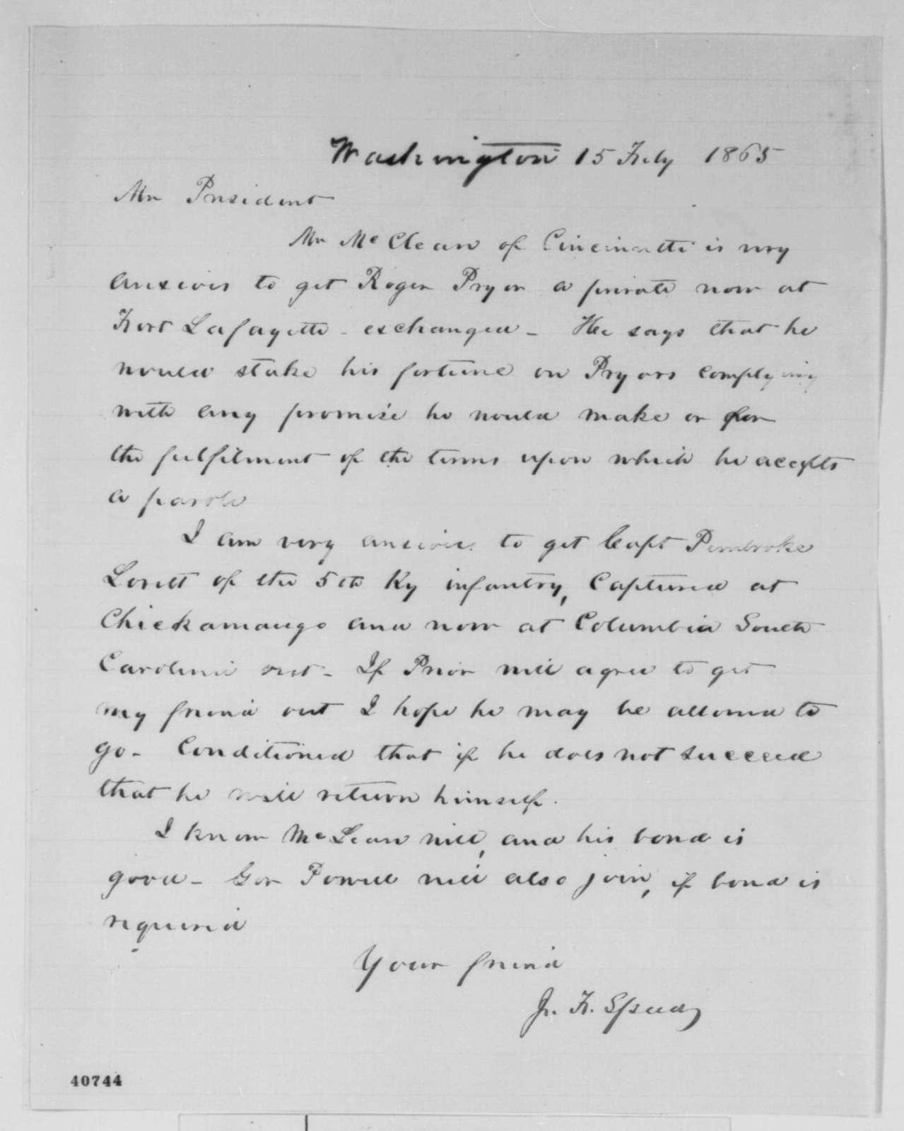 Joshua F. Speed to Abraham Lincoln, Wednesday, February 15, 1865  (Prisoner exchange)