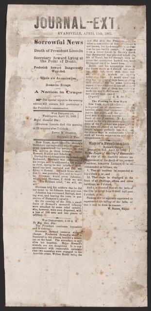 Journal-- Ext, [newspaper]. April 15th, 1865.