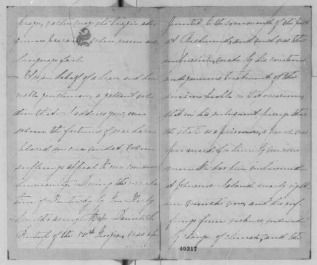 Julia G. Scott to Abraham Lincoln, Saturday, January 28, 1865  (Requests release of Confederate prisoner)