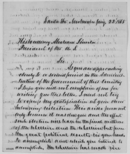 Kirby Benedict to Abraham Lincoln, Sunday, January 22, 1865  (Affairs in New Mexico)