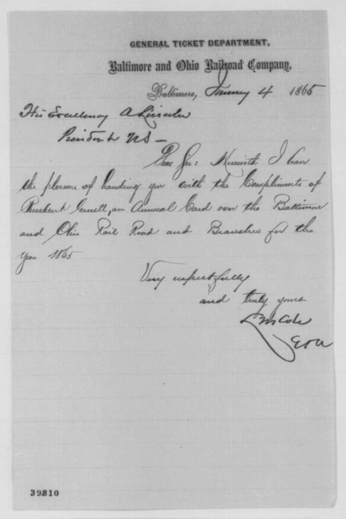L. M. Cole to Abraham Lincoln, Wednesday, January 04, 1865  (Sends railroad pass)