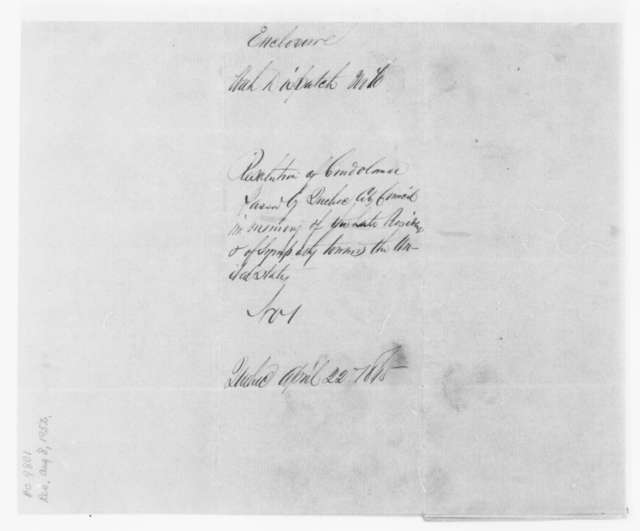L. S. Cannon to John S. Bowen, Saturday, April 22, 1865  (Sends resolution of Quebec City Council concerning Lincoln's assassination)