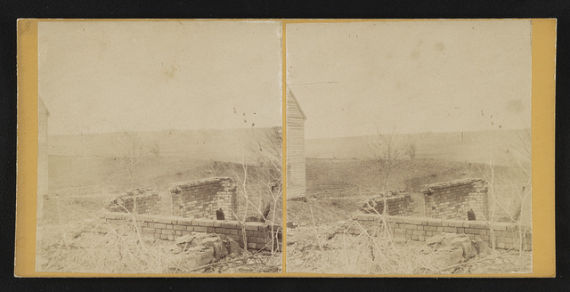 Lacy House from Old Wilderness Tavern ruins. This house was head qrs [i.e. quarters] of Burnside. 1st day's fight, '64