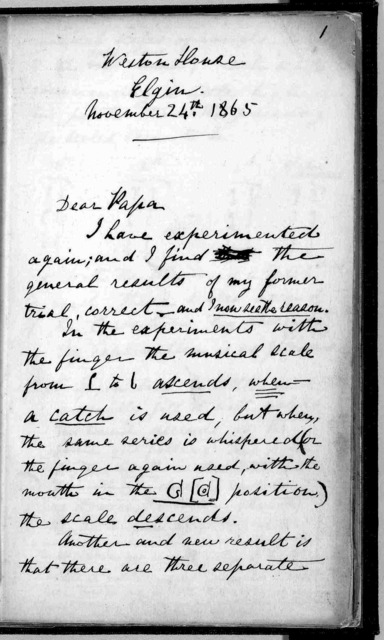 Letter from Alexander Graham Bell to Alexander Melville Bell, November 24, 1865