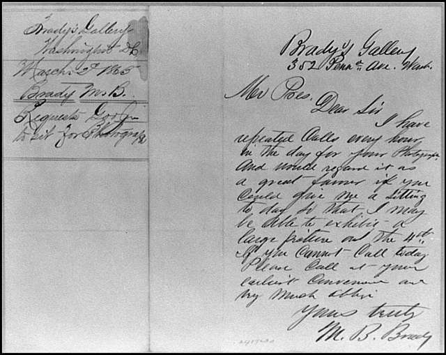 [Letter from Mathew Brady to President Abraham Lincoln, asking Lincoln to sit for a photograph]