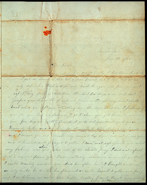 Letter from Mattie V. Thomas to Uriah W. Oblinger, June 8, 1865