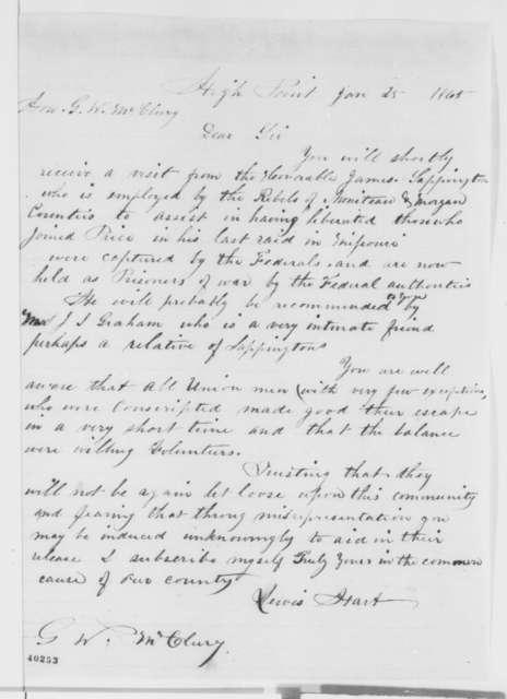 Lewis Hart to Joseph W. McClurg, Wednesday, January 25, 1865  (Military affairs in Missouri)