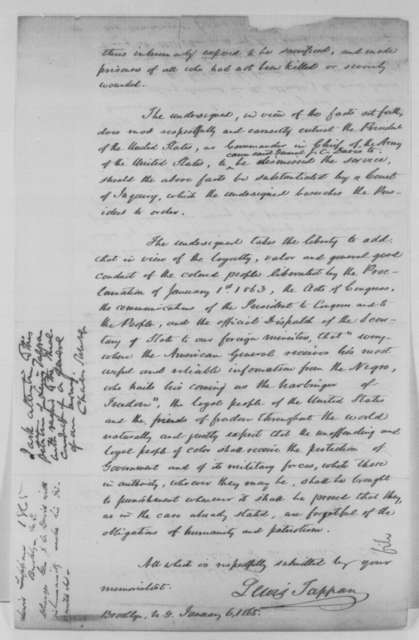 Lewis Tappan to Abraham Lincoln, Friday, January 06, 1865  (Gen. Jefferson C. Davis' treatment of former slaves in Georgia; endorsed by Charles Sumner)