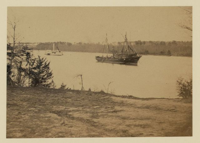 Looking down James River from Dutch Gap, February 1865