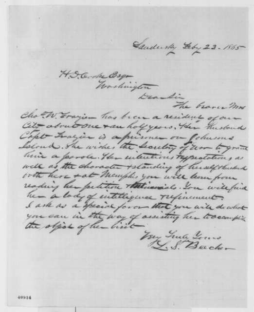 Lucas S. Beecher to Henry D. Cooke, Thursday, February 23, 1865  (Introduction)