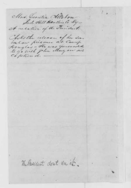 Lucretia Allstun to Abraham Lincoln, Monday, January 09, 1865  (Requests release of prisoner; endorsed by John Hay)