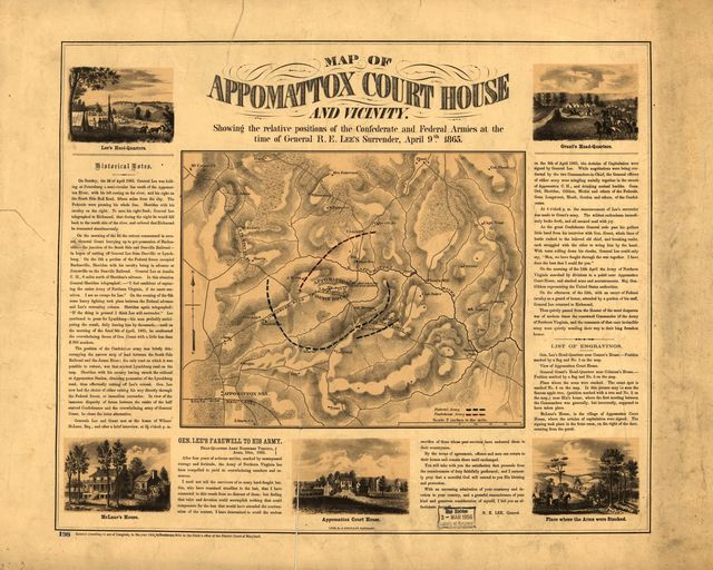 Map of Appomattox Court House and vicinity. Showing the relative positions of the Confederate and Federal Armies at the time of General R. E. Lee's surrender, April 9th 1865.