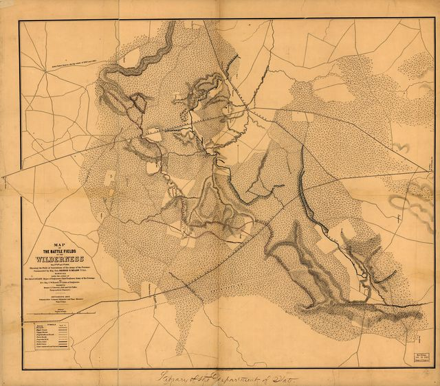 Map of the battle fields of the Wilderness, May 5th, 6th, and 7th, 1864 : showing the field of operations of the Army of the Potomac commanded by Maj. Gen. George G. Meade, U.S.A. /