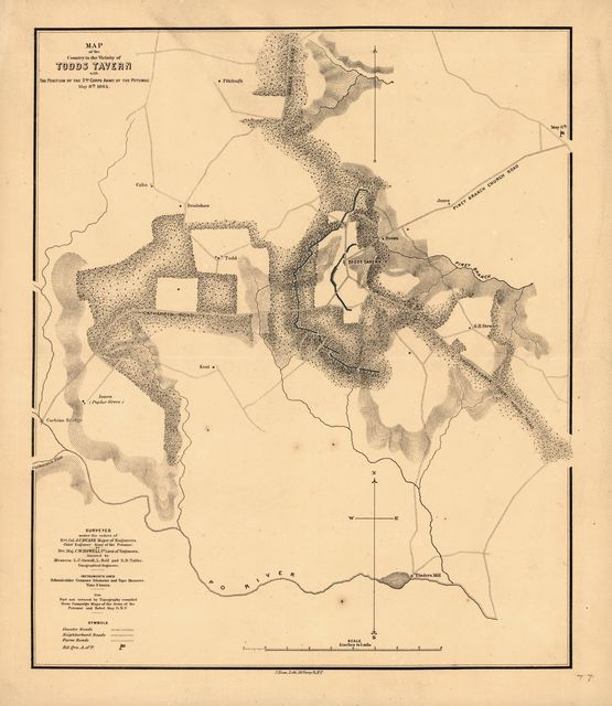 Map of the country in the vicinity of Todds Tavern, with the position of the 2nd Corps Army of the Potomac, May 8th, 1864 /