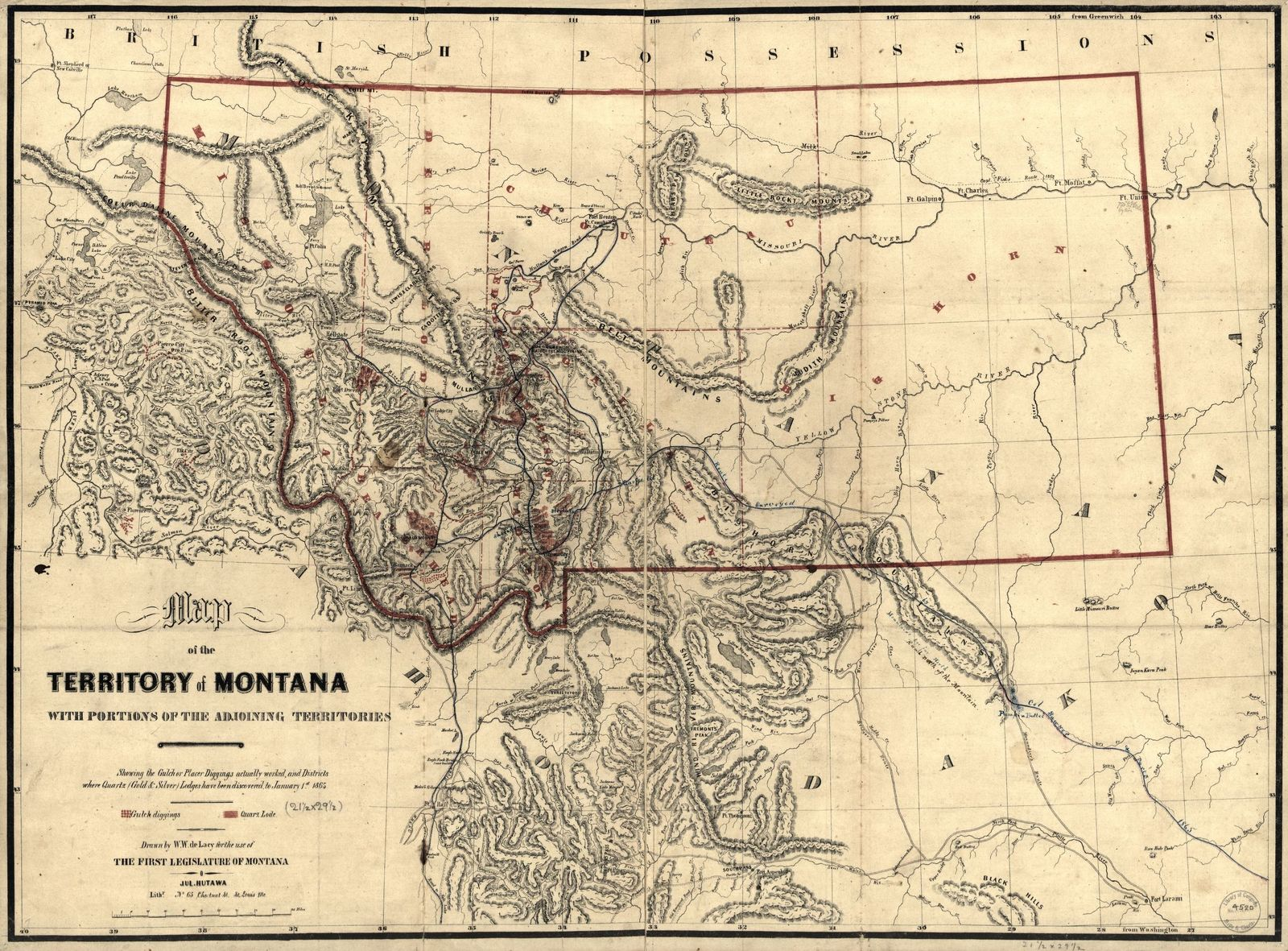 Map of the territory of Montana with portions of the adjoining territories : showing the gulch or placer diggings actually worked and districts where quartz (gold & silver) lodges have been discovered to January 1st 1865 /