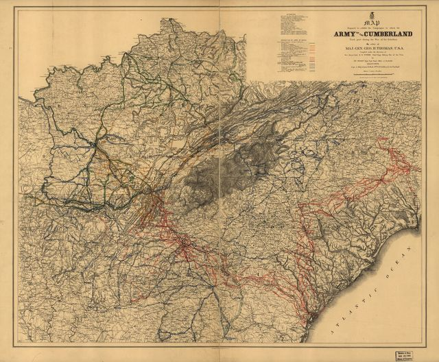 Map prepared to exhibit the campaigns in which the Army of the Cumberland took part during the War of the Rebellion. [1861-65]