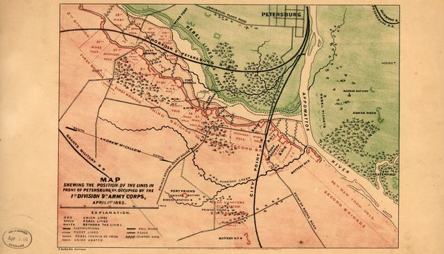 Map shewing the position of the lines in front of Petersburg, Va., occupied by the 1st Division, 9th Army Corps, April 1st 1865