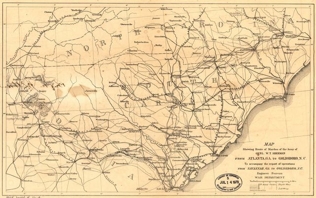 Map showing route of marches of the army of Genl. W. T. Sherman from Atlanta, Ga., to Goldsboro, N.C. : to accompany the report of operations from Savannah, Ga., to Goldsboro, N.C. /
