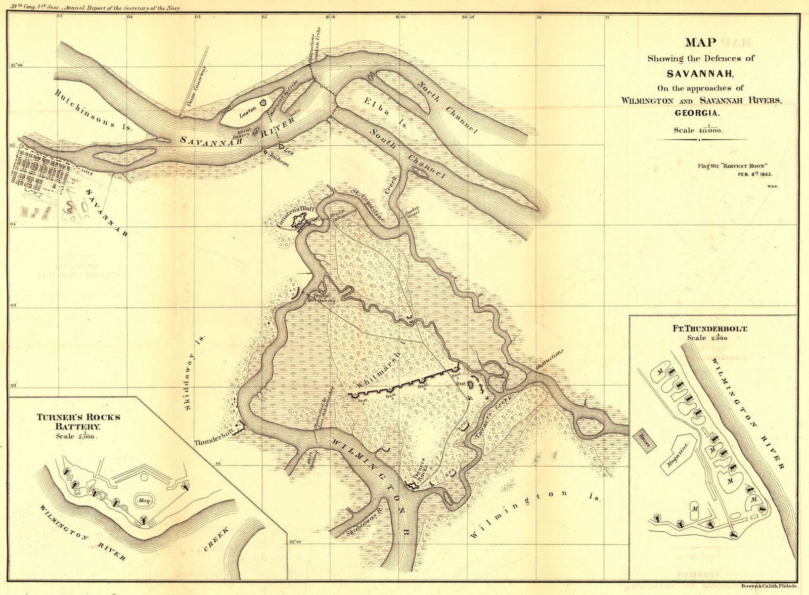 Map Of Georgia 1865.Map Showing The Defences Of Savannah On The Approaches Of