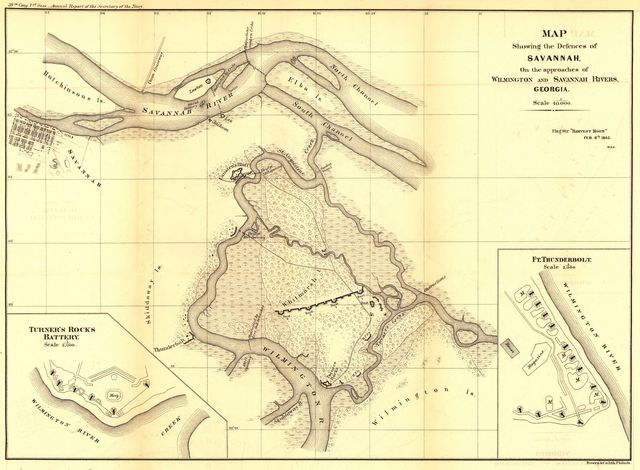 "Map showing the defences of Savannah, on the approaches of Wilmington and Savannah Rivers, Georgia. Flag St[eame]r ""Harvest Moon"" Feb. 8th 1865."