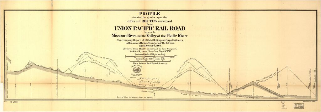 Map showing the different routes surveyed for the Union Pacific Rail Road between the Missouri River and the Platte Valley,