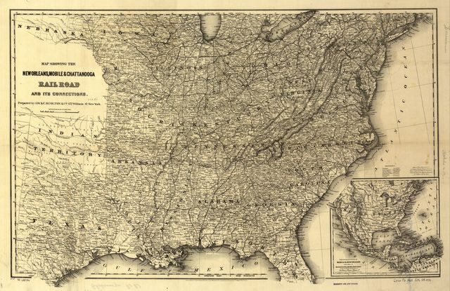 Map showing the New Orleans, Mobile & Chattanooga Railroad and its connections.